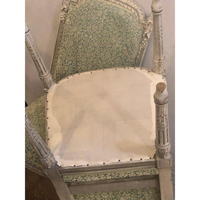 Pair of 19th-20th Century Paint Decorated Louis XVI Style Swedish Side Chairs For Sale - Image 12 of 13