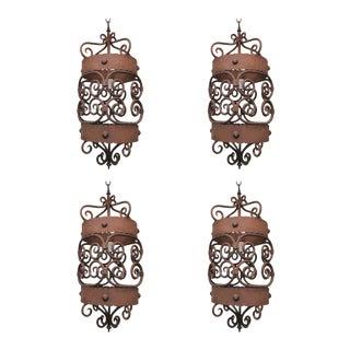 1920 Iron Lanterns - Set of 4 For Sale
