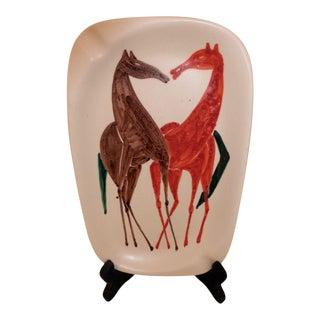 Mid 20th Century Italian Nove P. T. Ashtray Hand Painted Horse Giraffe For Sale