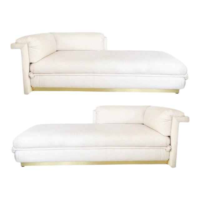 Two French Art Deco Chaise Lounges with Brass Base For Sale