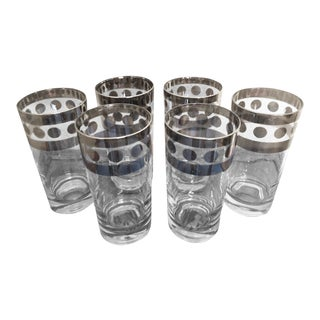 Dorothy Thorpe Mid-Century Highball Glasses With Sterling Silver - Set of 6