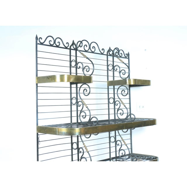Wrought Iron and Brass Bakers Rack For Sale - Image 4 of 10