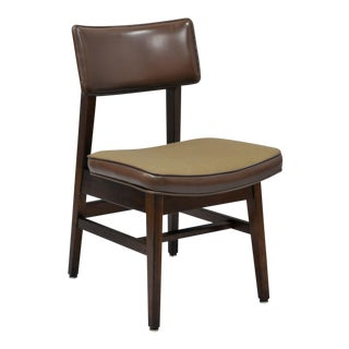 Vintage Gunlocke Walnut Brown Vinyl & Fabric Desk Dining Chair