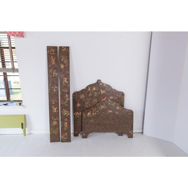 Brown Folk Art Custom-Painted Twin Beds - a Pair For Sale - Image 8 of 13