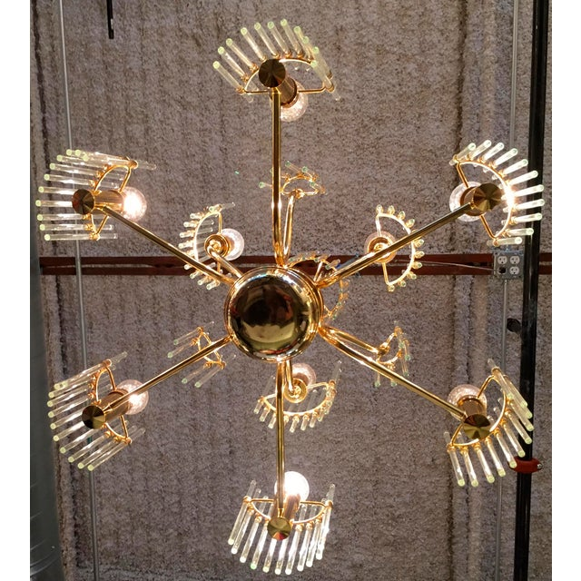 Sciolari Crystal Rod and Brass Chandelier - Image 3 of 7