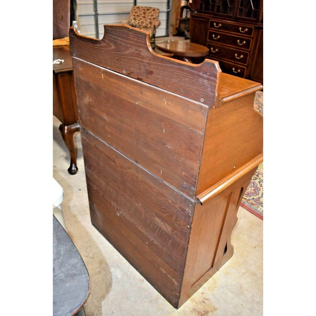 Brown Antique Oak Drum Roll Top Desk For Sale - Image 8 of 11