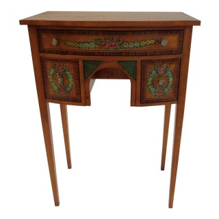 1950s Vintage American Classical, Hand-Painted Adams-Style Side Entry Hall Table For Sale