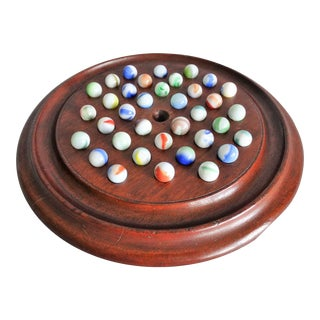 Early English Solitaire Pub Game With Marbles For Sale