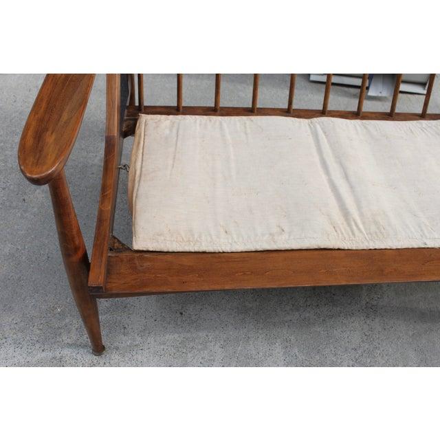 Walnut Danish Minimalist Spindle Back Sectional Sofa - Image 10 of 11