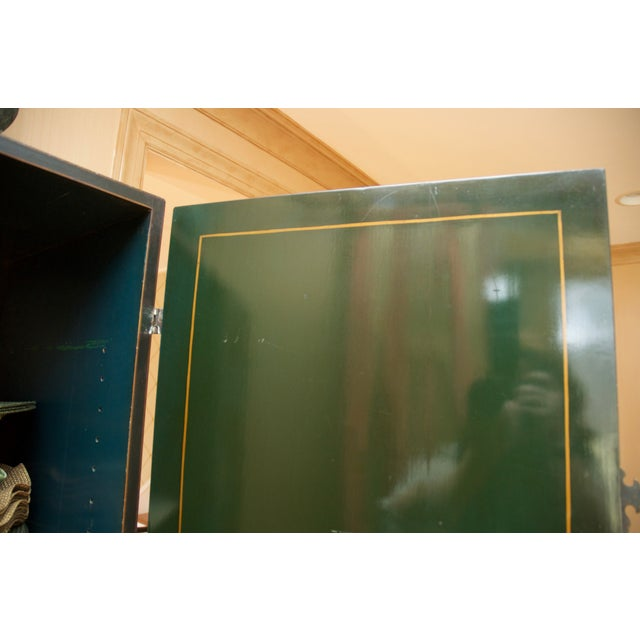 Hunter Green Vintage Chinoiserie Cabinet With Rais - Image 8 of 10