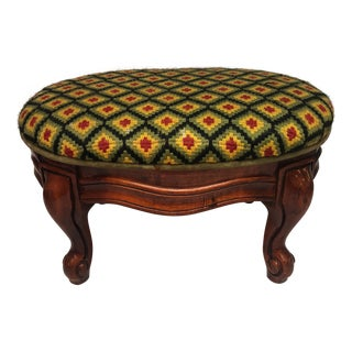 Antique Footstool With Cabriole Legs