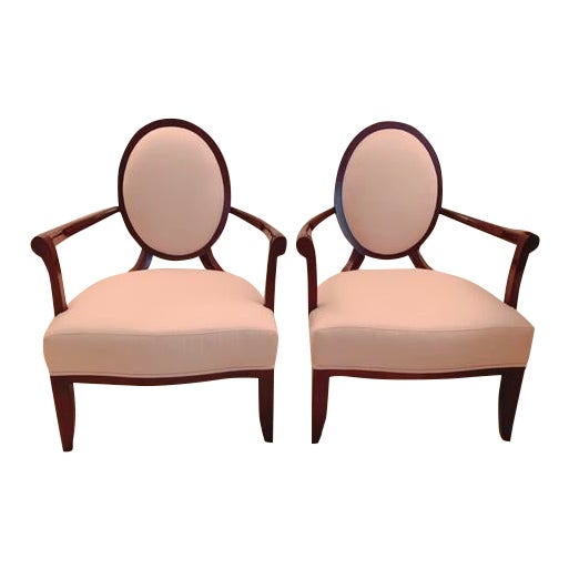 Barbara Barry Oval X-Back Chairs for Baker Furniture - a Pair For Sale