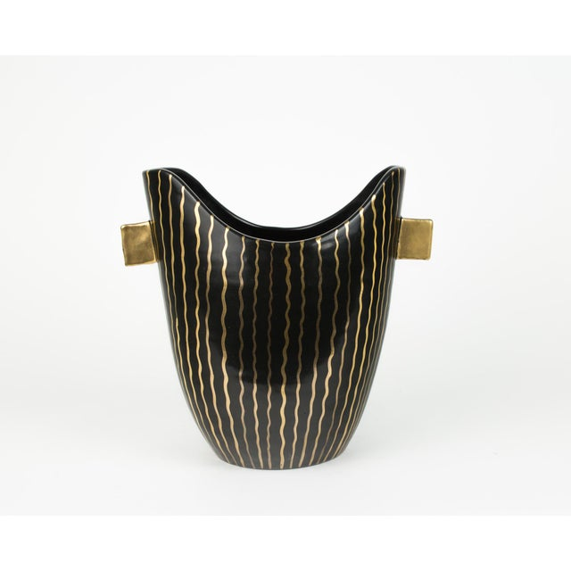 Ceramic Mid Century Italian Striped Black and Gold Vase For Sale - Image 7 of 13