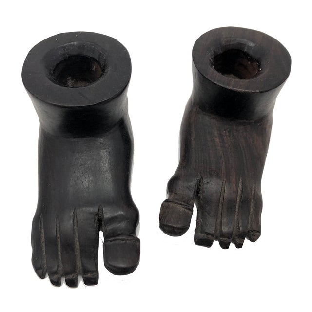 Vintage Hand-Carved Ebony Foot-Shaped Candleholders - a Pair For Sale - Image 12 of 12