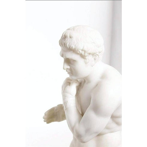 19th Century Antique Grand Tour Canova's Damoxenos the Boxer Marble Reduction Sculpture For Sale - Image 4 of 9