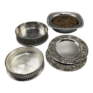 Assorted Group of Gorham, Wallace, Silver Plated Wine Bottle Coasters - Group of 5 For Sale