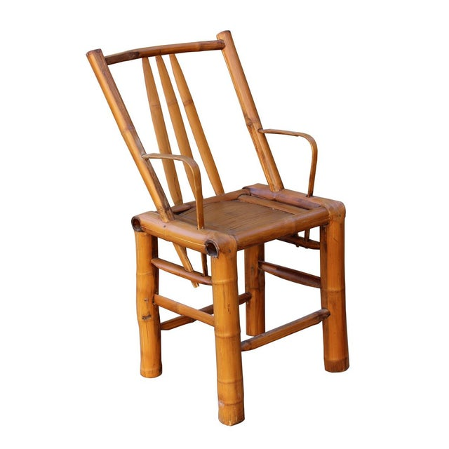 Asian Chinese Zen Style Bamboo Reclining Arm Chair For Sale - Image 3 of 6