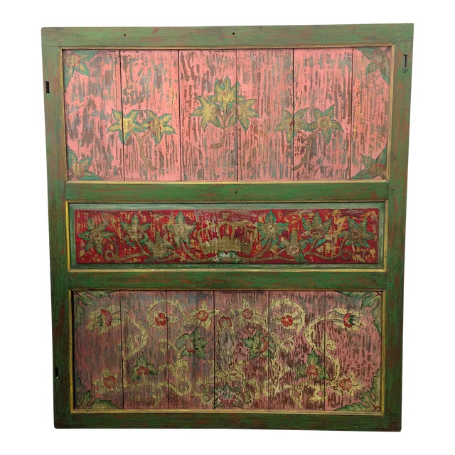 Hand-Painted Crown and Flowers Wood Panel - Image 1 of 11