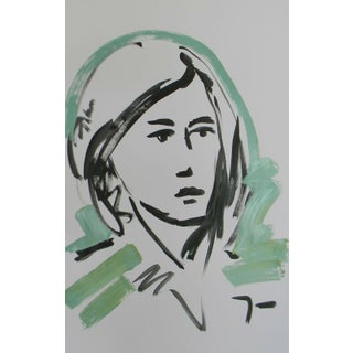 """""""Green Woman"""" Contemporary Figurative Acrylic Painting by Jose Trujillo For Sale"""