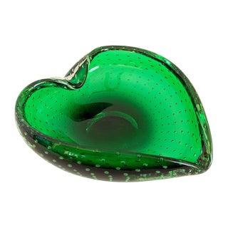 Green Bullicante Murano Glass Heart Bowl Ashtray For Sale