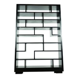 Contemporary 'Tetris' Black Wood Bookcase