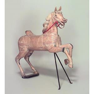 Carnival 20th Century Carousel style stripped pine large horse figure with front support For Sale - Image 3 of 3