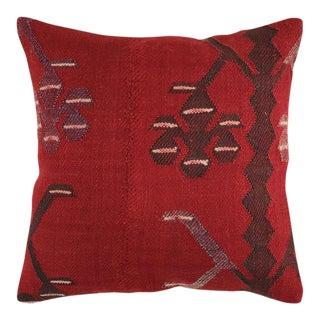 "Rich Red Vintage Kilim Pillow | 16"" For Sale"