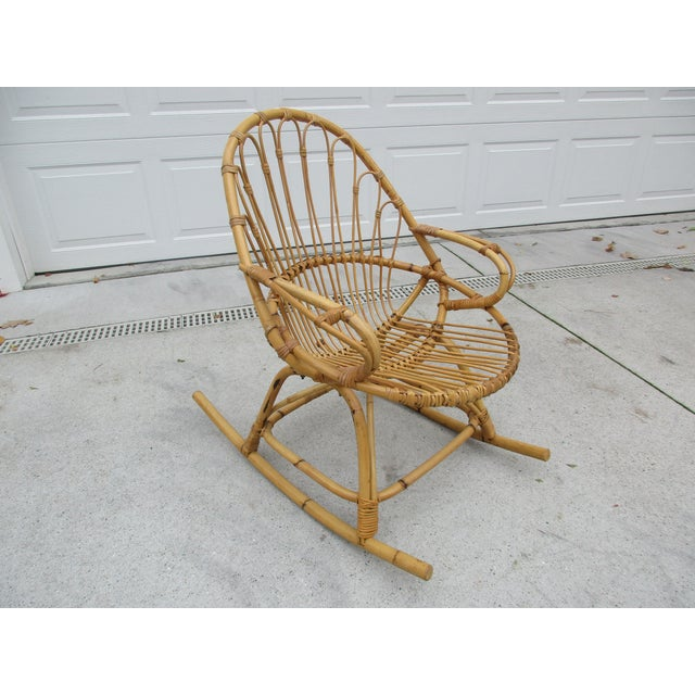 Bamboo and Wicker Rocking Chair - Image 2 of 8