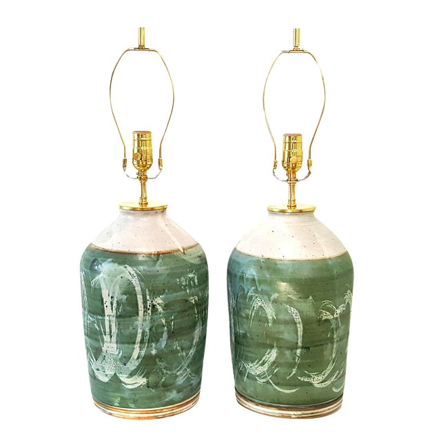 Vintage Green Studio Pottery Lamps - A Pair - Image 1 of 10