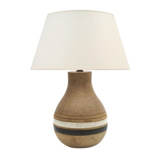 Mid Century Striped Ceramic Table Lamp by Bruno Gambone, Signed, Circa 1950 For Sale