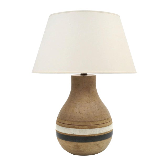 Mid-Century Striped Ceramic Table Lamp Signed by Bruno Gambone C. 1950 For Sale