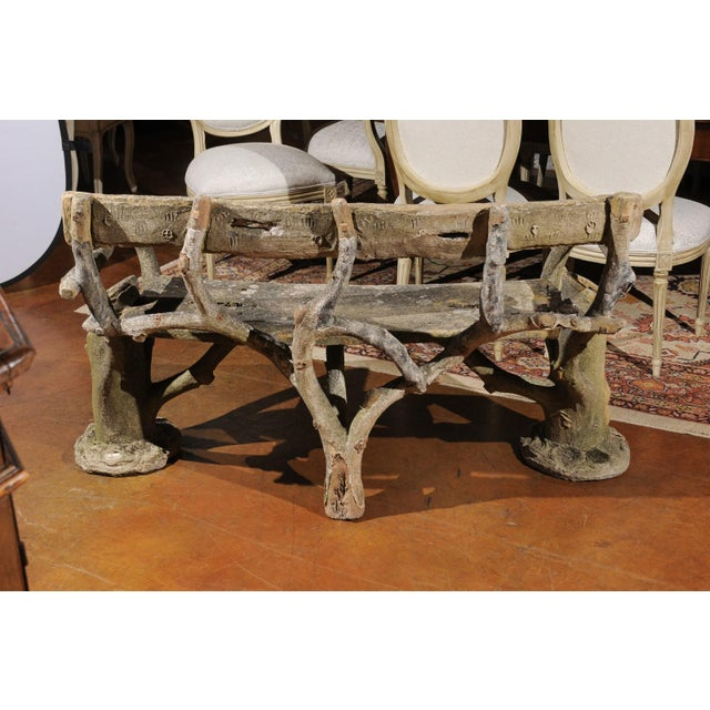 Gray French Late 19th Century Faux-Bois Concrete Bench with Vases Flanking the Sides For Sale - Image 8 of 13