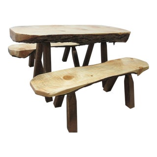 Childs Adirondack Cabin Free Form Slab Wood Live Edge Dining Set - Set of 3 For Sale