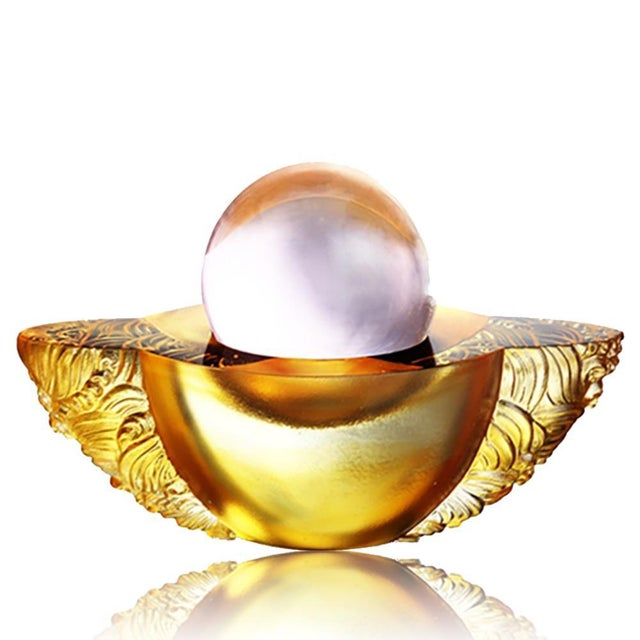 """Contemporary Crystal Paperweight """"Kindness Turns this Good World"""" Feng Shui Sculpture in Light Amber For Sale - Image 3 of 3"""