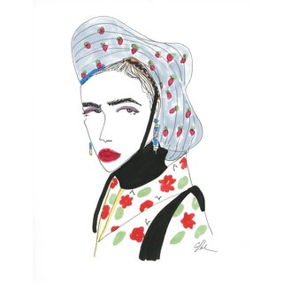 "2010s Original Watercolor Illustration, ""Side Eye and a Smudged Lip"" by Carly Kuhn For Sale"