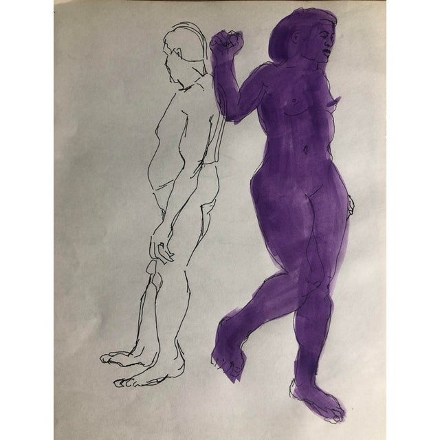 Mid-Century Defiant Purple Female Nude, 1950s For Sale - Image 4 of 4