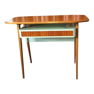 1950s Danish Modern Teak & Green Painted Vanity Desk or Side Table