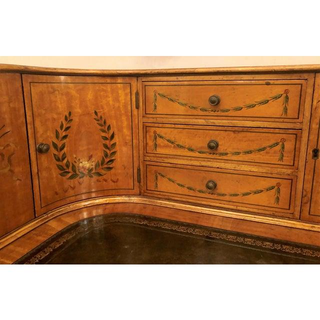 Estate English Painted Satinwood Carlton House Writing Desk. For Sale - Image 4 of 7