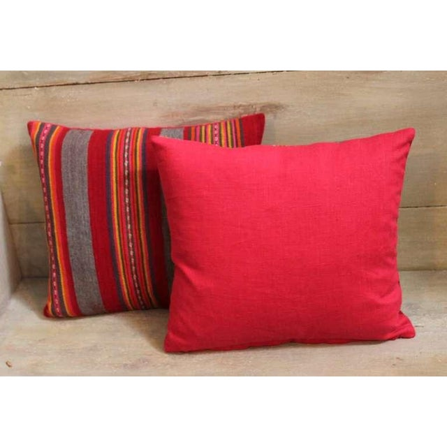 Colorful Pair of Early 20th Century Red and Gray Wool Striped Pillows For Sale - Image 4 of 4