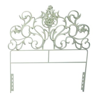 French Carved Painted Metal Twin Size of Headboard 2171 For Sale