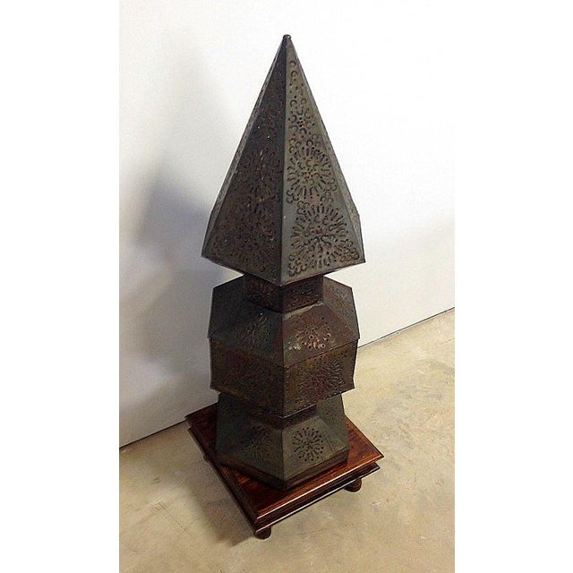 Peirced Tin Lamp on Wooden Base For Sale - Image 4 of 11