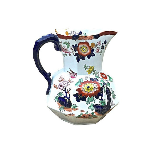 Traditional Antique Ironstone Floral Basin & Pitcher - a Pair For Sale - Image 3 of 11