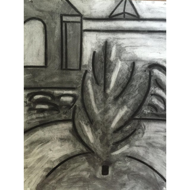 """G. Turner Abstract Plant c. 1978 Charcoal on Strathmore Charcoal Paper 19"""" x 25 1/2"""", Unframed Signed in pencil lower..."""