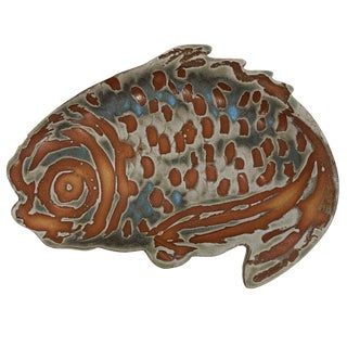 Vintage Mid Century Studio Pottery Fish Platter For Sale
