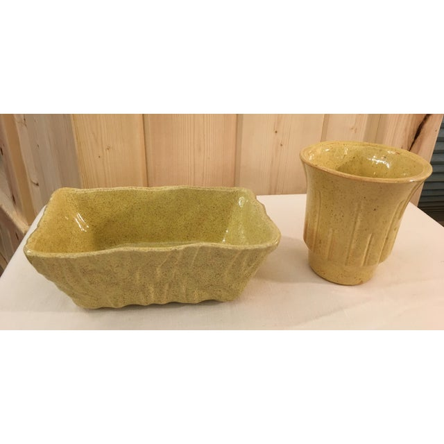 Mid-Century Modern Mustard Speckled Planters - A Pair - Image 8 of 11
