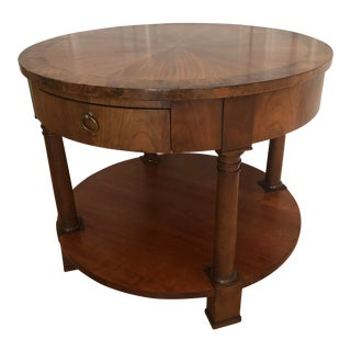 Vintage Baker Furniture Starburst Top Burl Band Round Accent Table For Sale