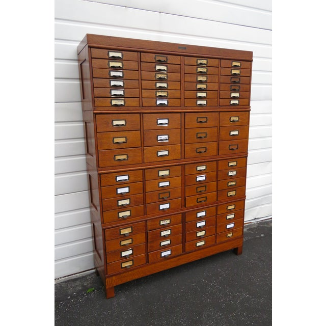 Early 1900s Oak Stacked File Cabinet Cupboard by p.a. Wetzler Co For Sale - Image 13 of 13
