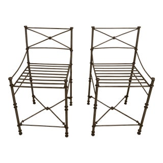 Wrought Iron Bar Stools - A Pair For Sale