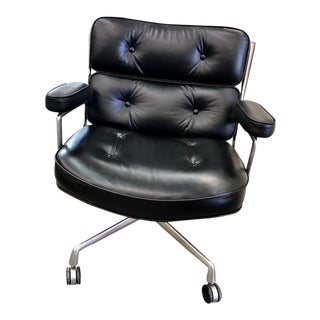 1970s Vintage Eames Authentic Time-Life Black Leather Executive Chair For Sale