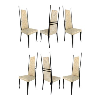 1980s Post Modern 1980s Sculptural Italian Dining Chairs - Set of 6 For Sale